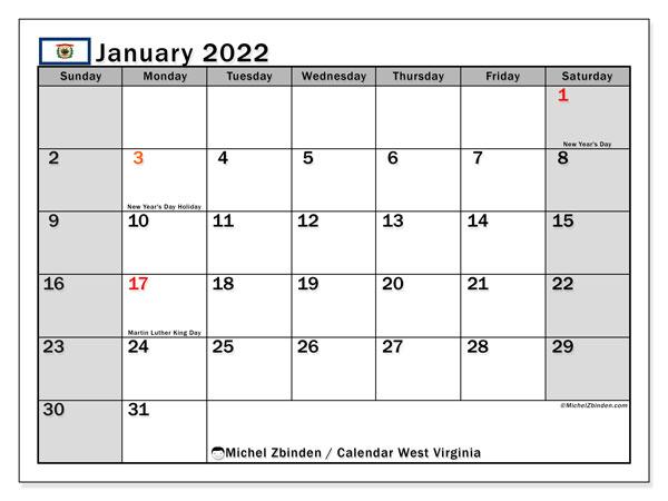 Wvu Calendar 2022 23.Printable January 2022 West Virginia Calendar Michel Zbinden En