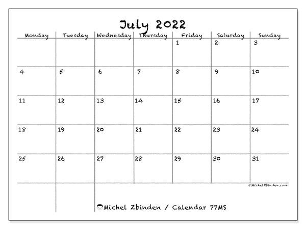 Calendar July 2022.Printable July 2022 77ms Calendar Michel Zbinden En