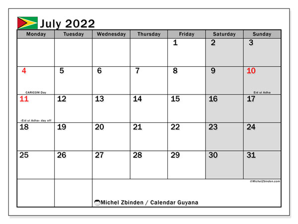 Printable July 2022 Calendar, Guyana
