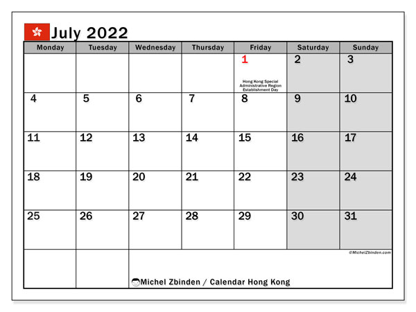 Printable July 2022 Calendar, Hong Kong