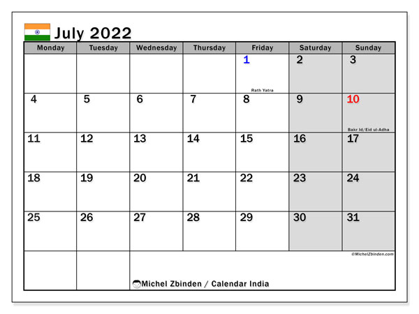 Printable calendars, July 2022, Public Holidays