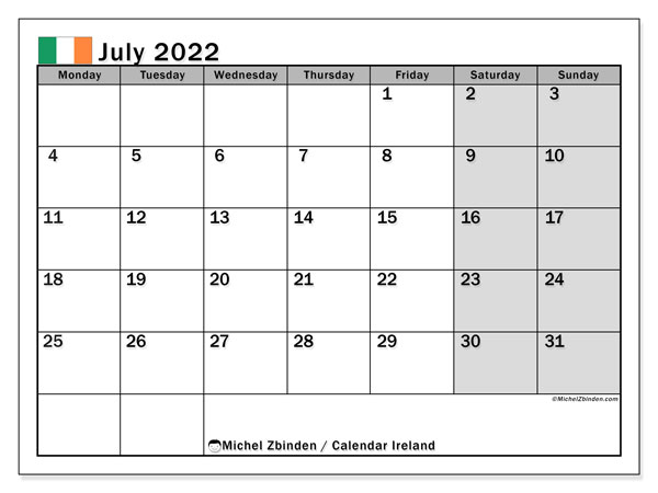 Printable July 2022 Calendar, Ireland