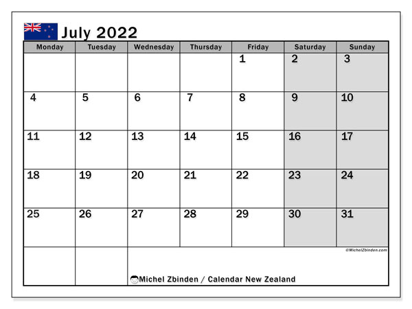 Printable July 2022 Calendar, New Zealand