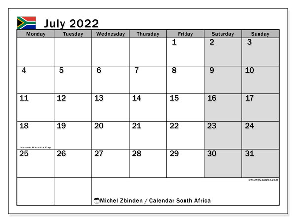 Printable July 2022 Calendar, South Africa