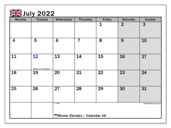 Printable July 2022 Calendar, UK