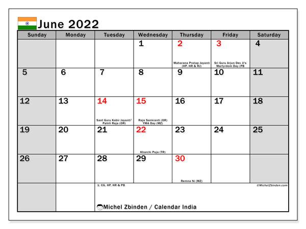Monthly Calendar June 2022.Printable June 2022 India Ss Calendar Michel Zbinden En