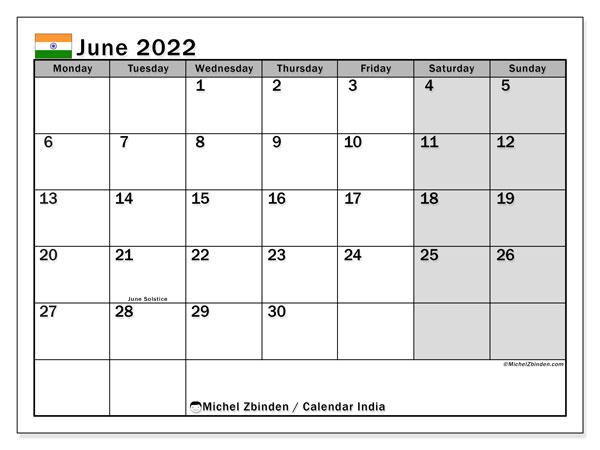 Printable June Calendar 2022.Printable June 2022 India Calendar Michel Zbinden En