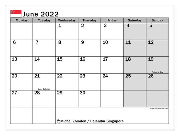 Printable calendars, June 2022, Public Holidays
