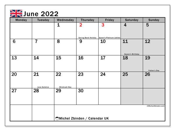 June Calendar 2022 With Holidays.Printable June 2022 Uk Calendar Michel Zbinden En