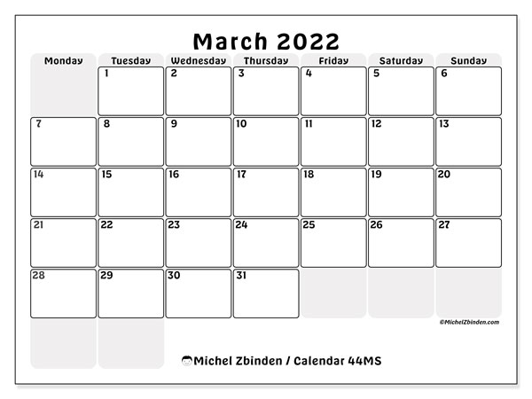 Printable calendar, March 2022, 44MS