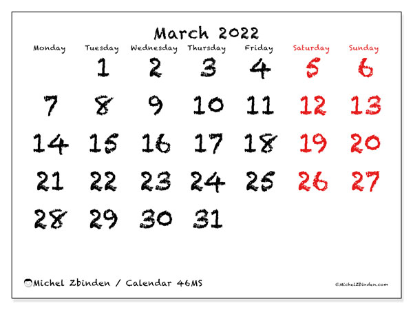 Printable calendar, March 2022, 46MS