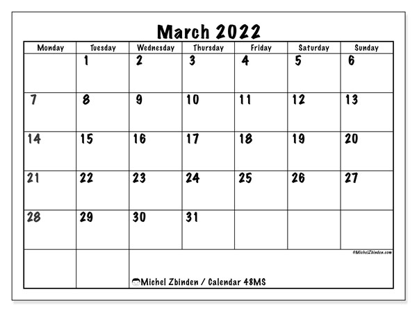 Printable calendar, March 2022, 48MS