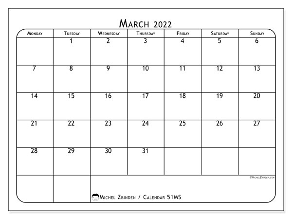 Printable calendar, March 2022, 51MS
