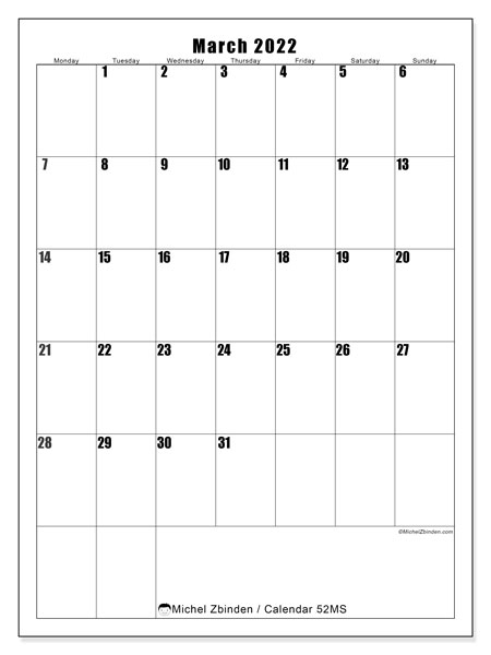 Printable calendar, March 2022, 52MS
