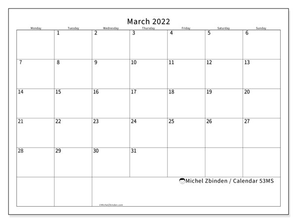 Printable calendar, March 2022, 53MS