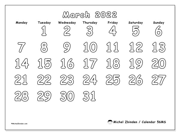 Printable calendar, March 2022, 56MS