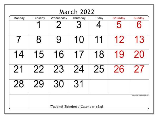 Printable calendar, March 2022, 62MS