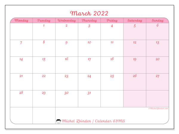 Printable calendar, March 2022, 63MS