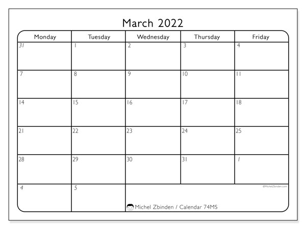 Printable calendar, March 2022, 74MS