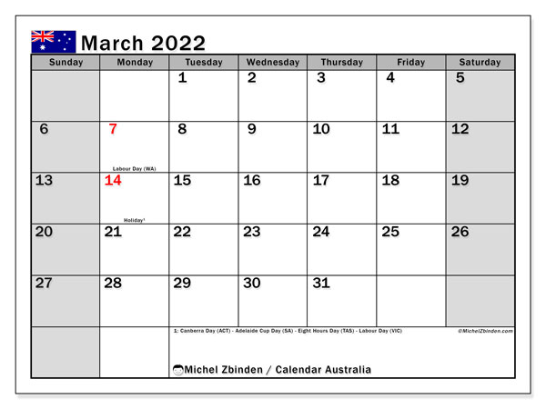 Printable March 2022 Calendar, Australia (SS)