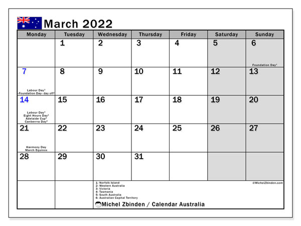 Printable March 2022 Calendar, Australia (MS)