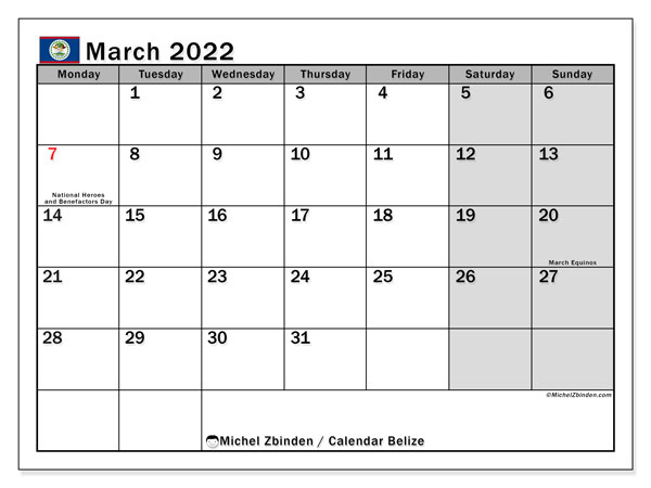 Printable March 2022 Calendar, Belize