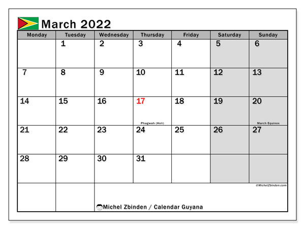 Printable March 2022 Calendar, Guyana