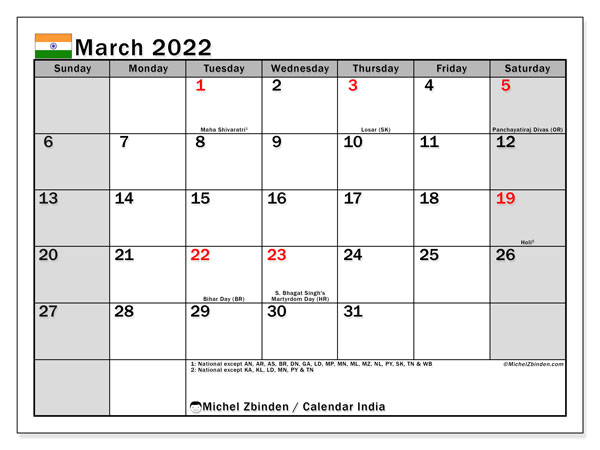 Printable March 2022 Calendar, India (SS)
