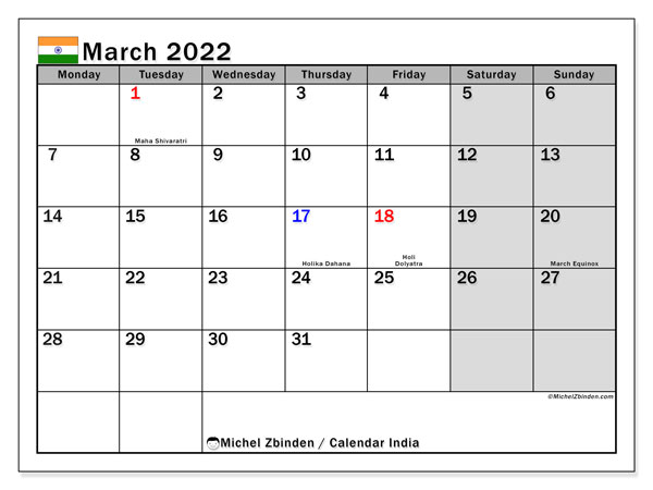 Printable March 2022 Calendar, India (MS)