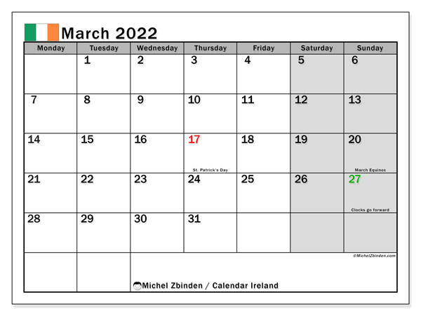 Printable March 2022 Calendar, Ireland