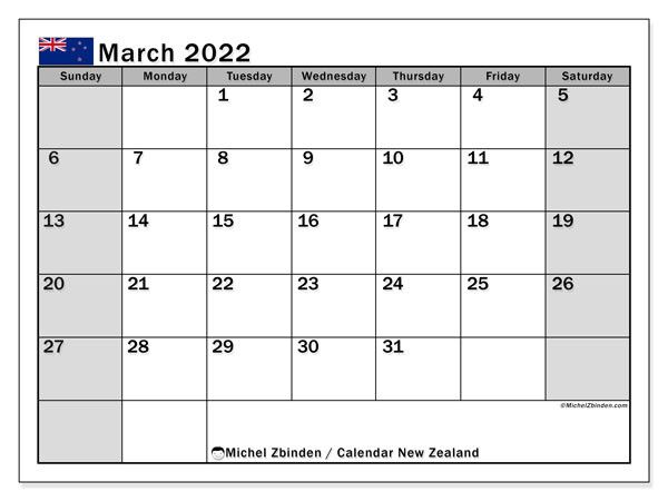 Printable March 2022 Calendar, New Zealand (SS)