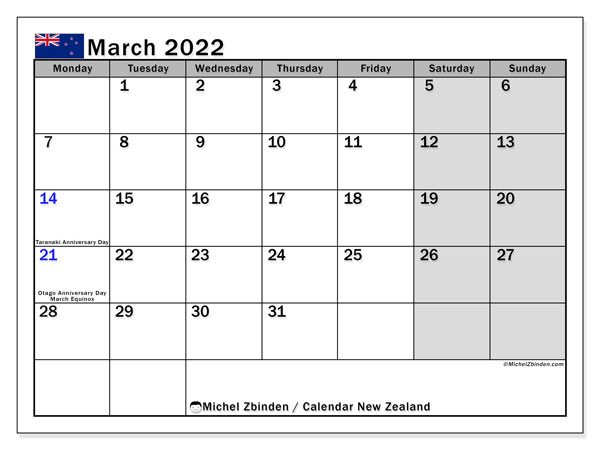 Printable March 2022 Calendar, New Zealand (MS)