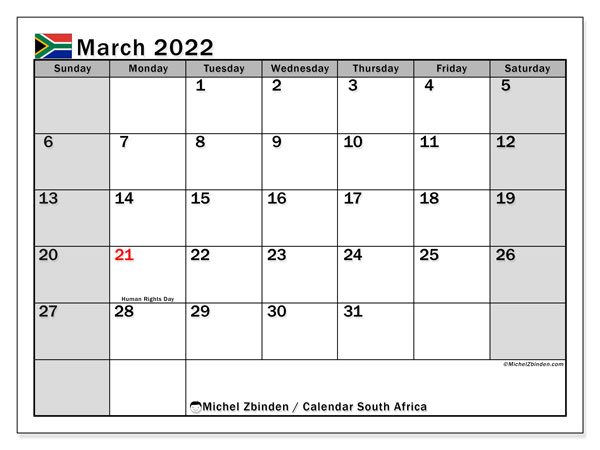 Printable March 2022 Calendar, South Africa (SS)