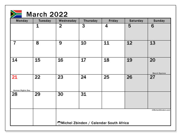 Printable March 2022 Calendar, South Africa (MS)