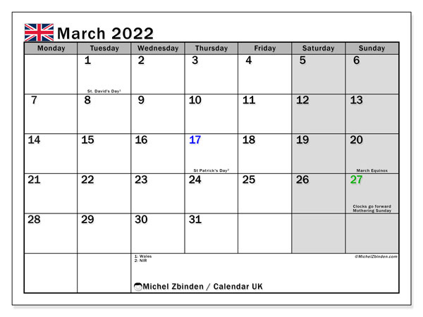 Printable March 2022 Calendar, UK