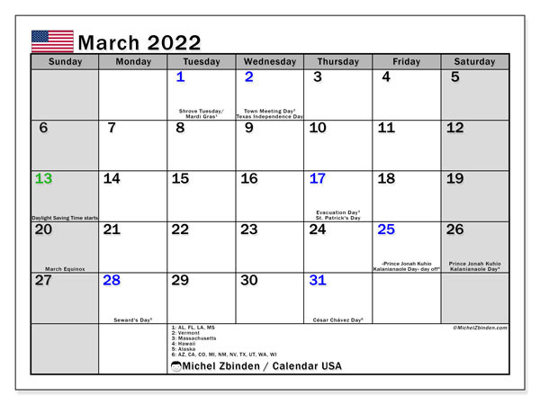 Printable March 2022 Calendar, USA