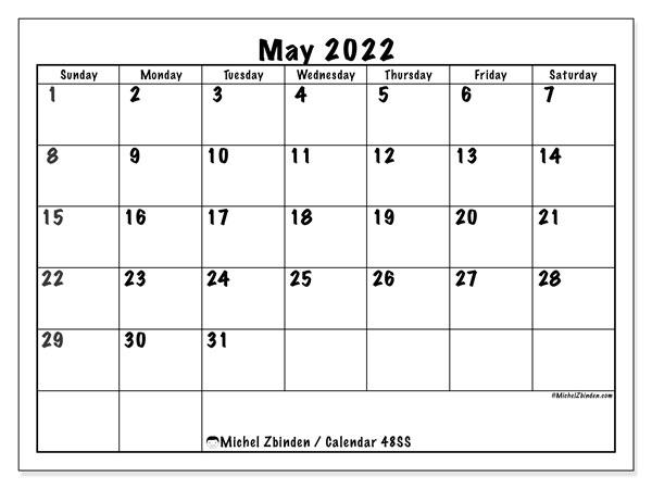 Printable May 2022 48ss Calendar Michel Zbinden En