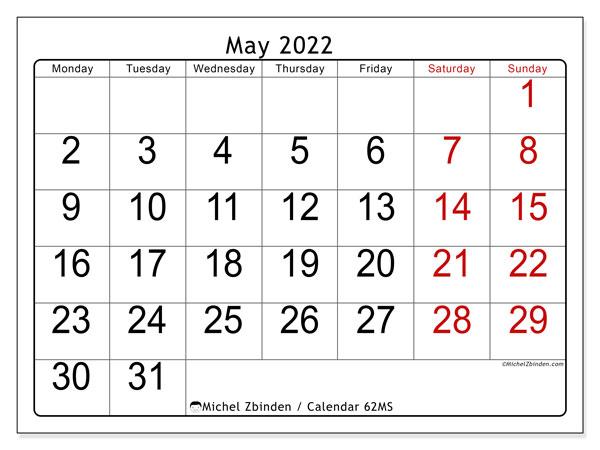 2022 May Calendar.Printable May 2022 62ms Calendar Michel Zbinden En