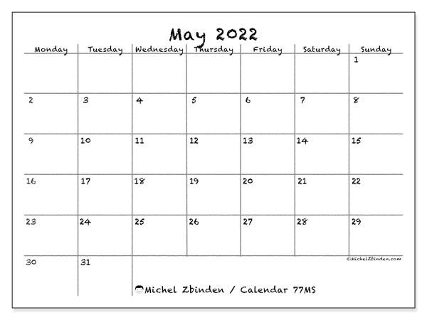 Monthly Calendar May 2022.Printable May 2022 77ms Calendar Michel Zbinden En