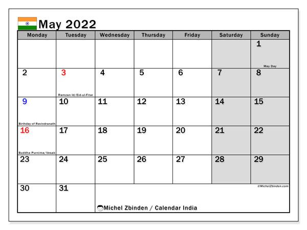 2022 May Calendar Printable.Printable May 2022 India Calendar Michel Zbinden En