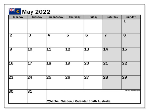 "Printable May 2022 ""South Australia"" Calendar - Michel ..."