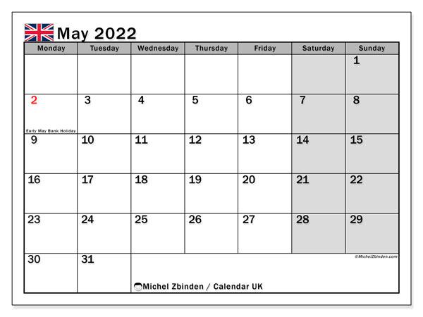 Printable May 2022 Uk Calendar Michel Zbinden En