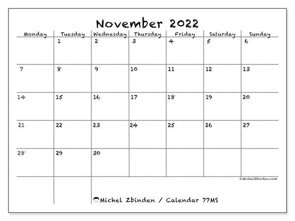 Monthly Calendar November 2022.Printable November 2022 77ms Calendar Michel Zbinden En