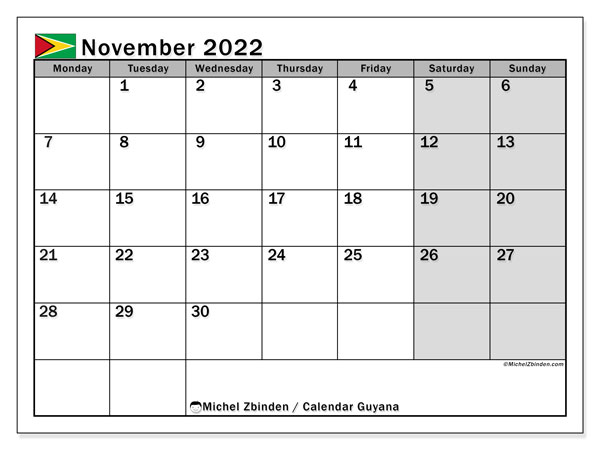 Printable calendars, November 2022, Public Holidays