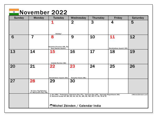 Printable Monthly Calendar November 2022.Printable November 2022 India Ss Calendar Michel Zbinden En