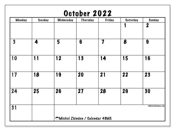 Free Printable Calendar October 2022.Printable October 2022 48ms Calendar Michel Zbinden En