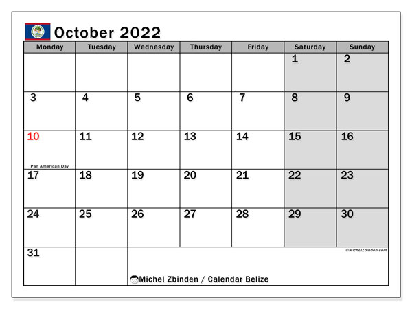 Printable October 2022 Calendar, Belize