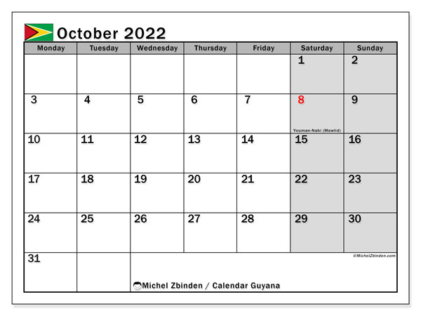 Printable October 2022 Calendar, Guyana