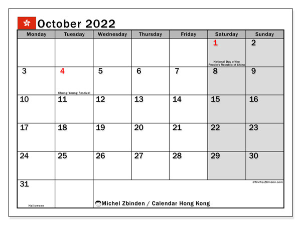 Printable October 2022 Calendar, Hong Kong