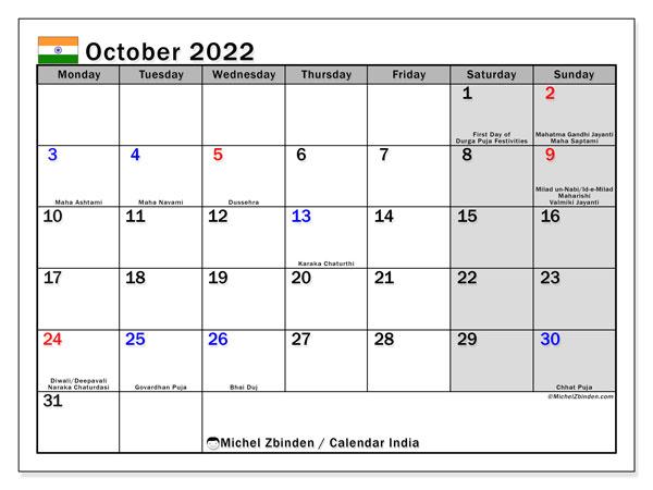 Free Printable Calendar October 2022.Printable October 2022 India Calendar Michel Zbinden En